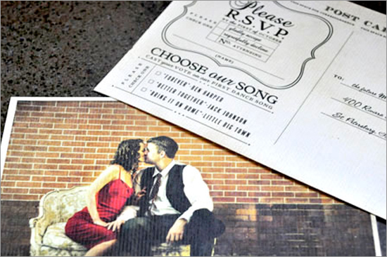 "Choose Our Song"" Postcard Invites 