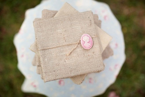 We constructed our invitations out of thick board burlap twine