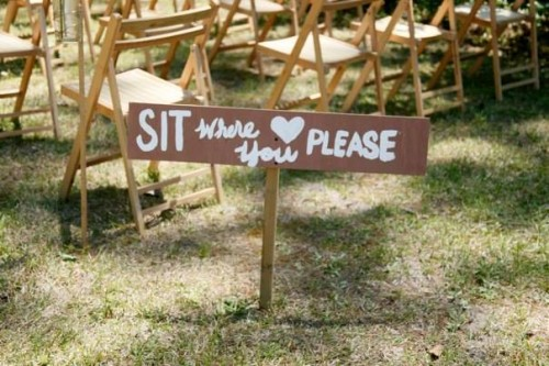 hand painted seating sign